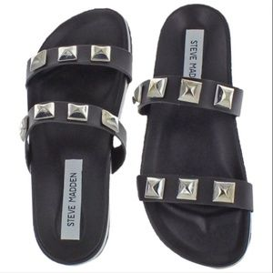 Steve Madden Leather Studded Slides New
